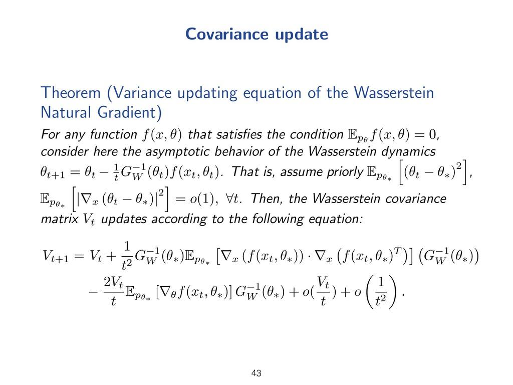 Covariance update Theorem (Variance updating eq...
