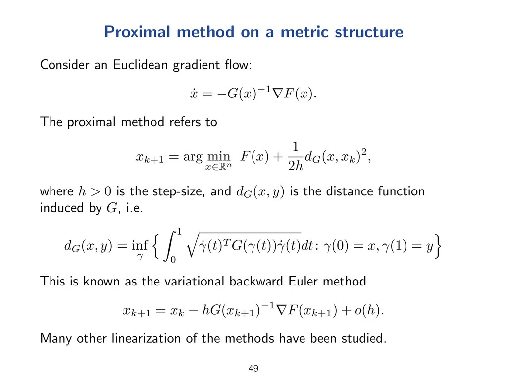 Proximal method on a metric structure Consider ...