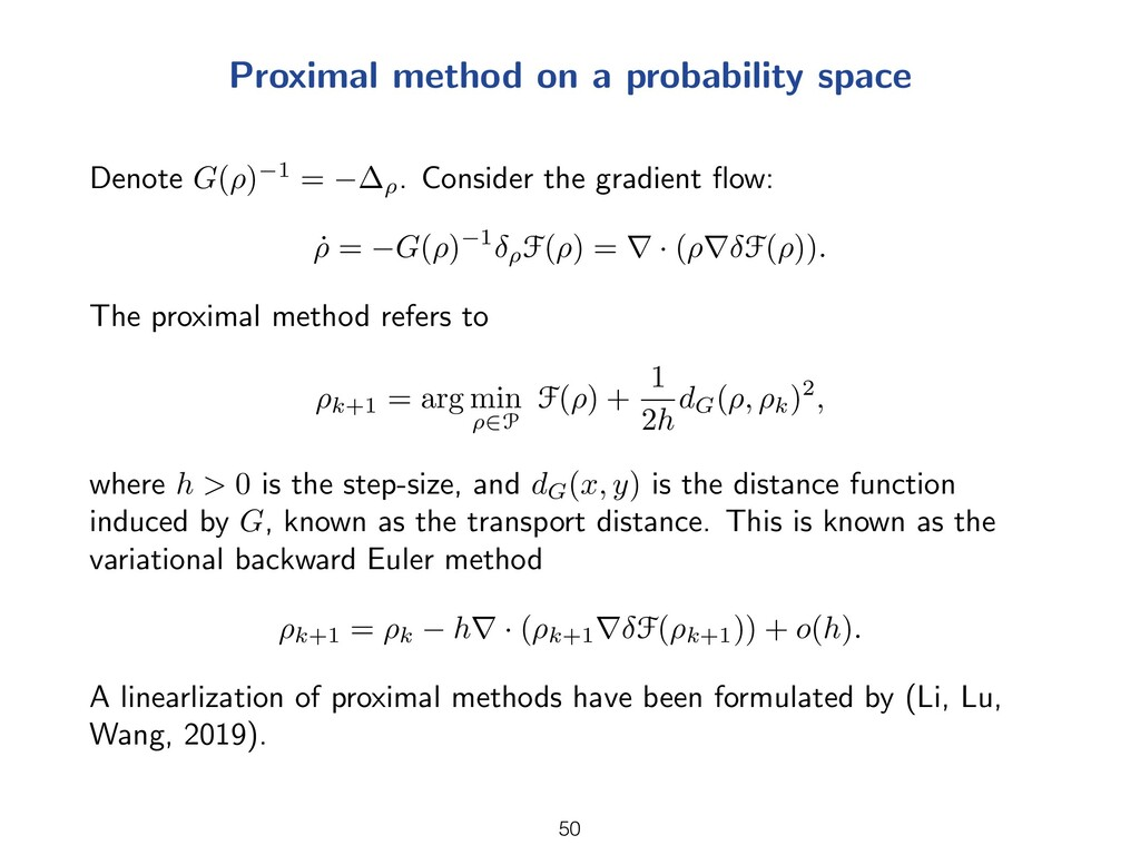Proximal method on a probability space Denote G...