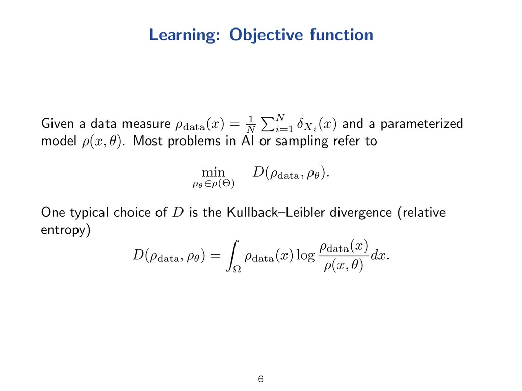 Learning: Objective function Given a data measu...