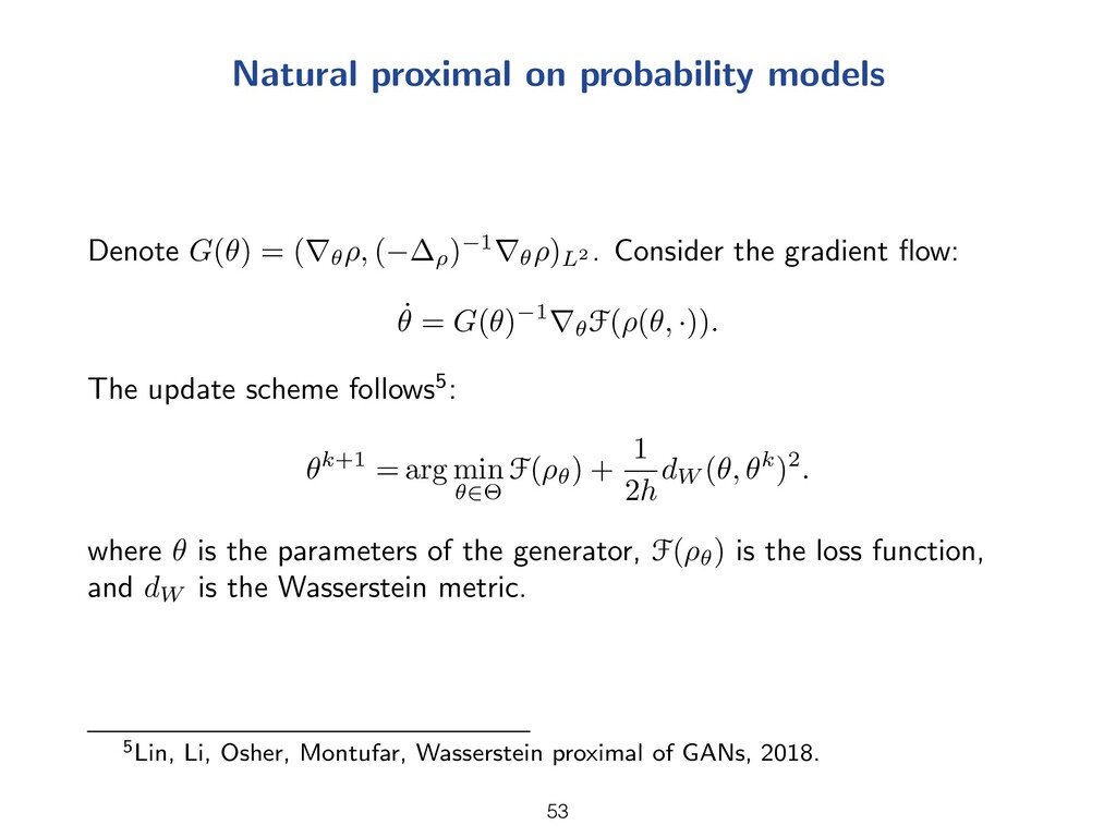Natural proximal on probability models Denote G...
