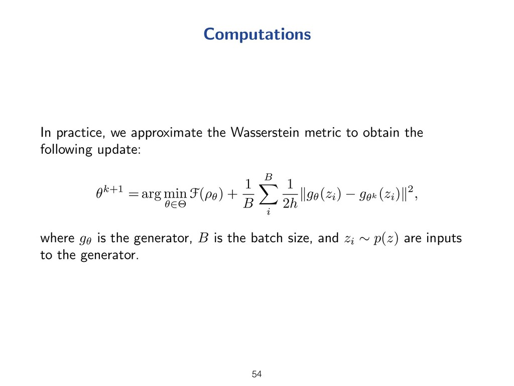 Computations In practice, we approximate the Wa...