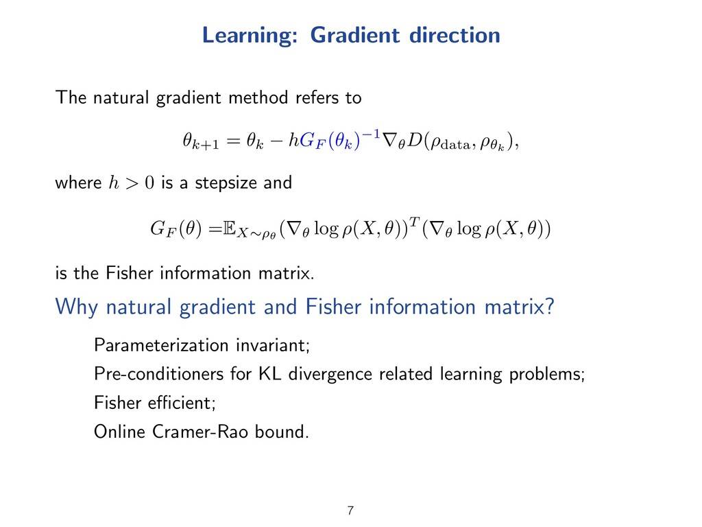 Learning: Gradient direction The natural gradie...