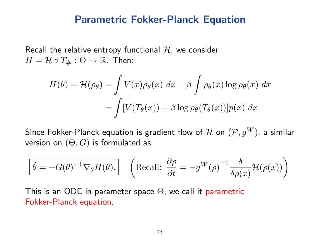 Parametric Fokker-Planck Equation Recall the re...