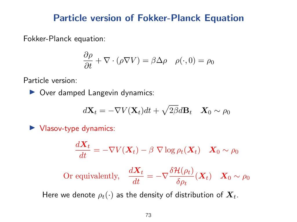 Particle version of Fokker-Planck Equation Fokk...
