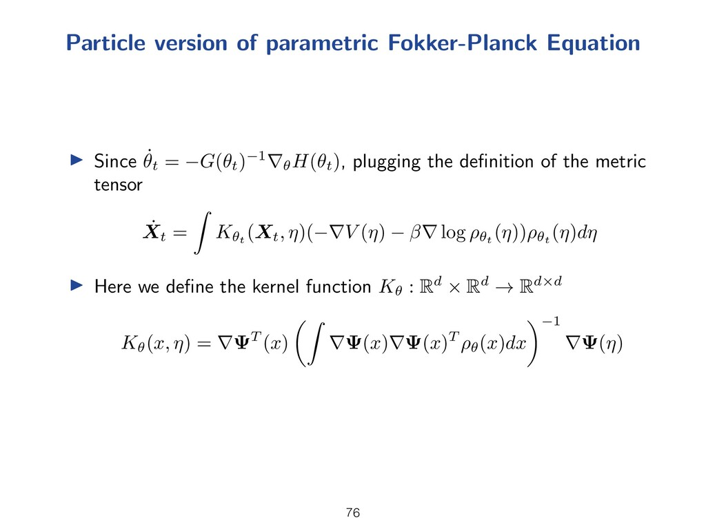 Particle version of parametric Fokker-Planck Eq...