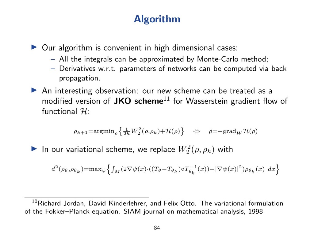 Algorithm I Our algorithm is convenient in high...