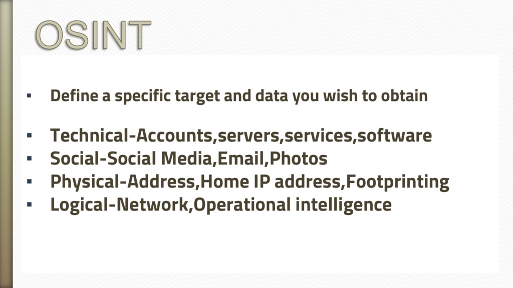 ▪ Define a specific target and data you wish to...