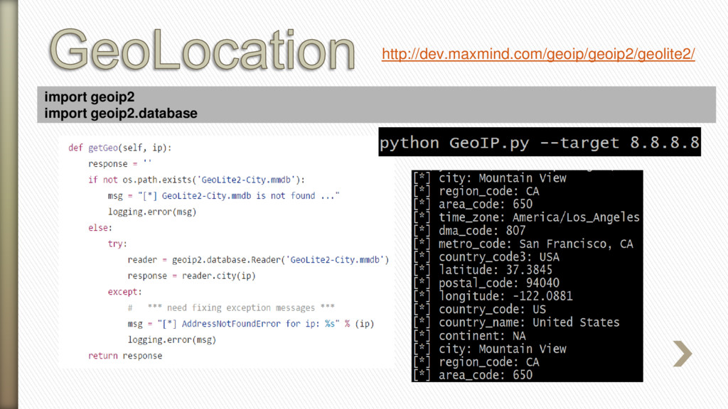 import geoip2 import geoip2.database http://dev...