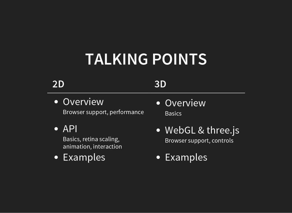 TALKING POINTS 2D 3D Overview Browser support, ...