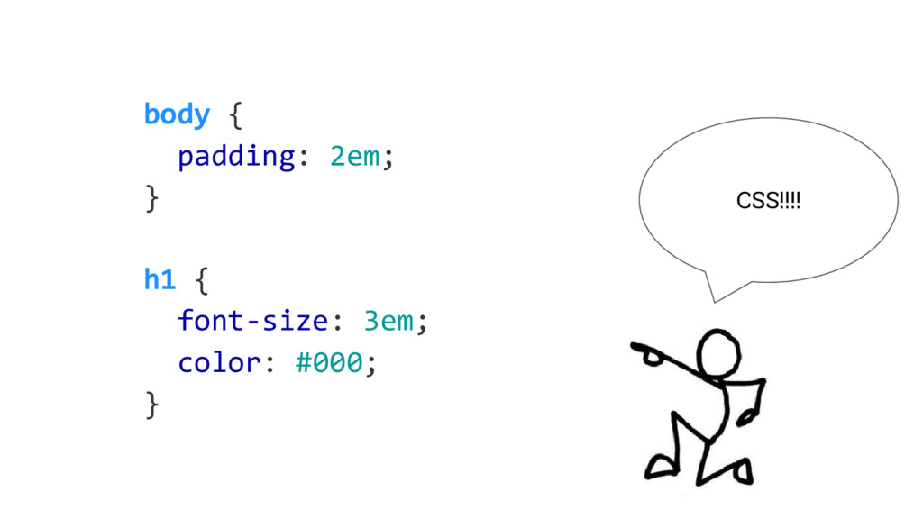 body { padding: 2em; } h1 { font-size: 3em; col...