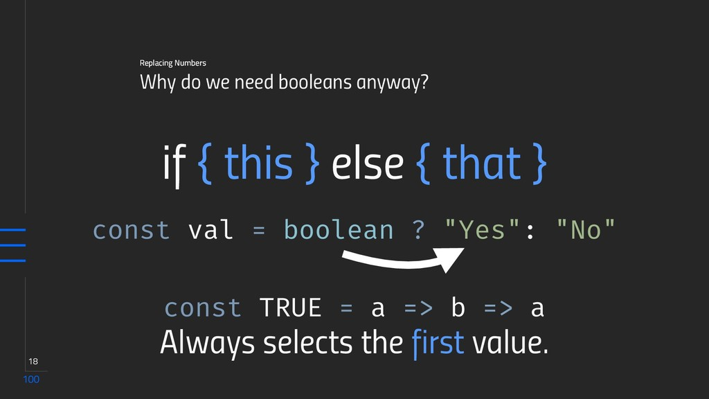 100 18 Why do we need booleans anyway? Replacin...