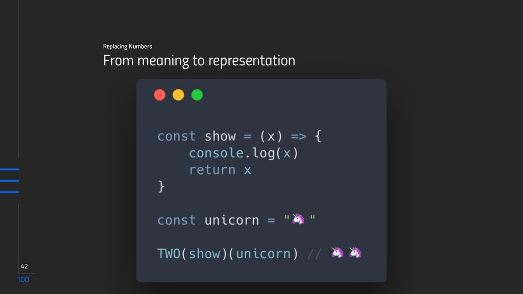 100 42 From meaning to representation Replacing...