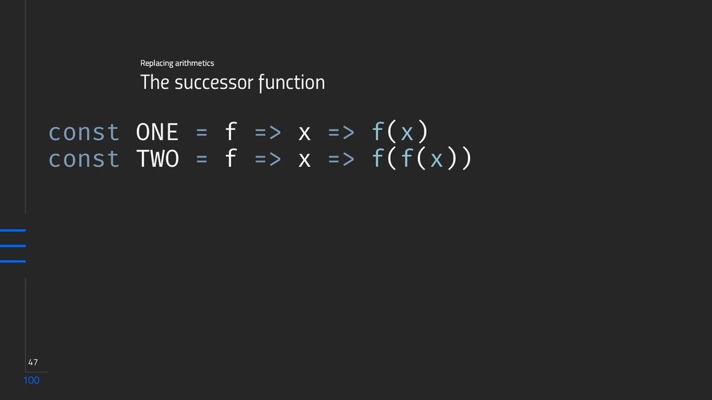 100 47 The successor function Replacing arithme...