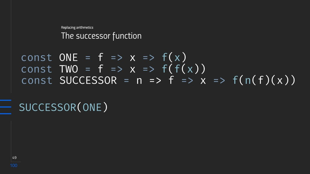 100 49 The successor function Replacing arithme...