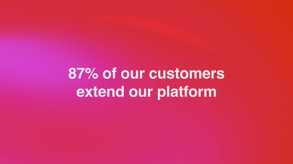 87% of our customers extend our platform