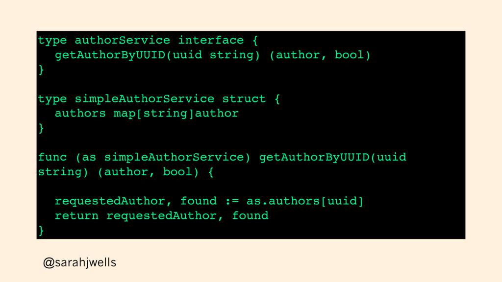 @sarahjwells type authorService interface { get...