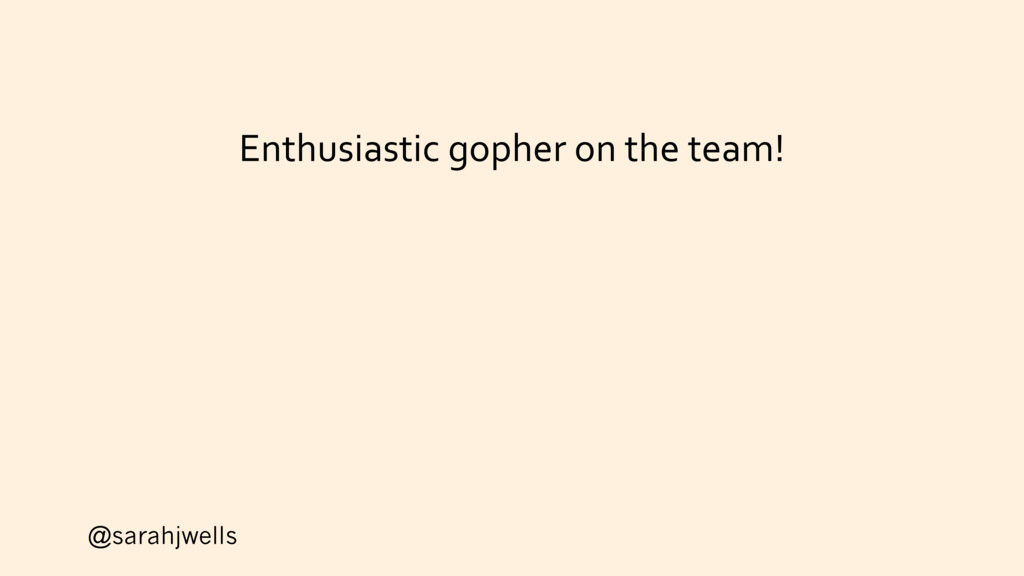 @sarahjwells Enthusiastic gopher on the team!