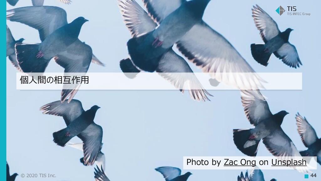 © 2020 TIS Inc. 44 個人間の相互作用 Photo by Zac Ong on...
