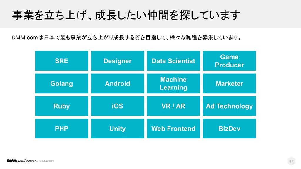 © DMM.com 17 事業を立ち上げ、成長したい仲間を探しています DMM.comは日本で...