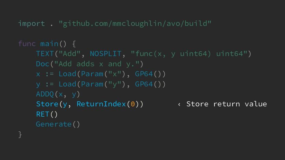 "import . ""github.com/mmcloughlin/avo/build"" fun..."