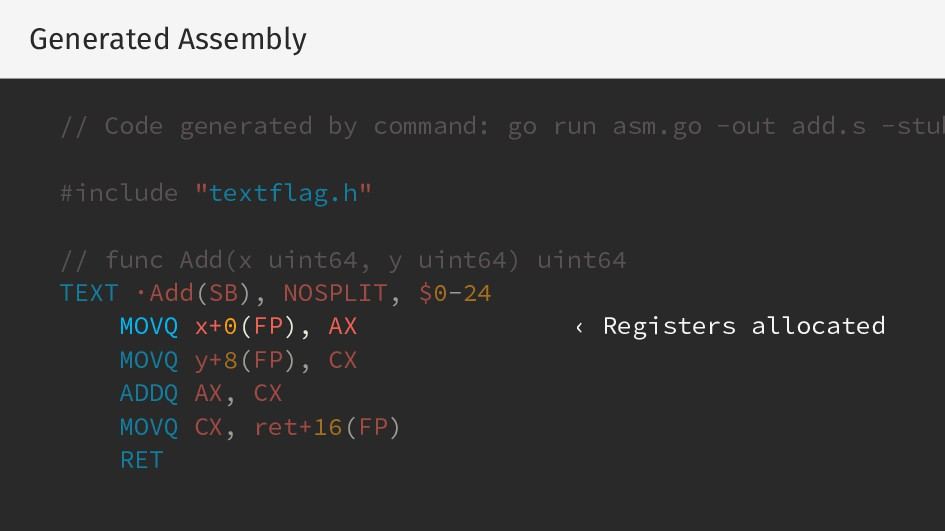 Generated Assembly // Code generated by command...