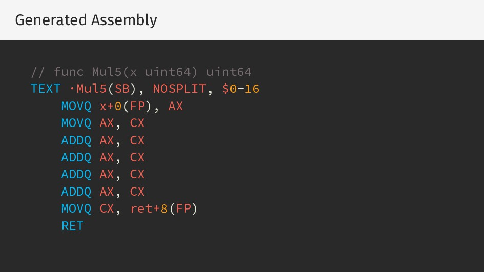 Generated Assembly // func Mul5(x uint64) uint6...