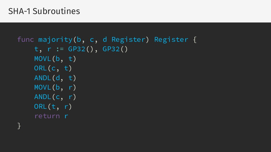 SHA-1 Subroutines func majority(b, c, d Registe...