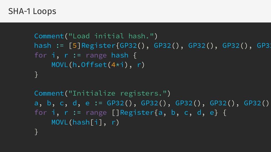 "SHA-1 Loops Comment(""Load initial hash."") hash ..."