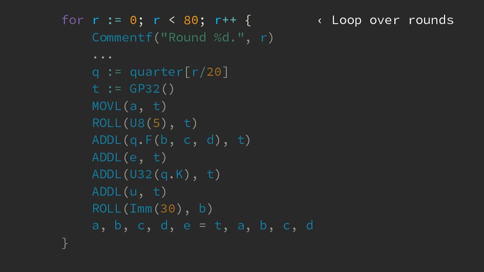 for r := 0; r < 80; r++ { ‹ Loop over rounds Co...