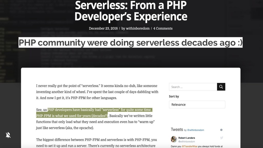 PHP community were doing serverless decades ago...