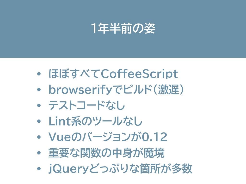 1年半前の姿 ・ ほぼすべてCoffeeScript ・ browserifyでビルド(激遅)...