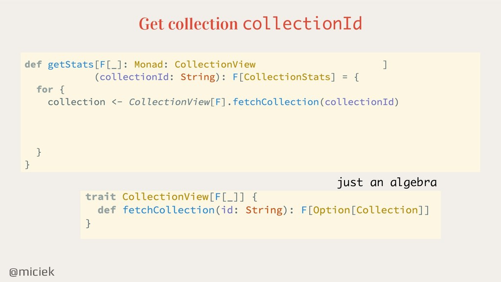 @miciek Get collection collectionId just an alg...