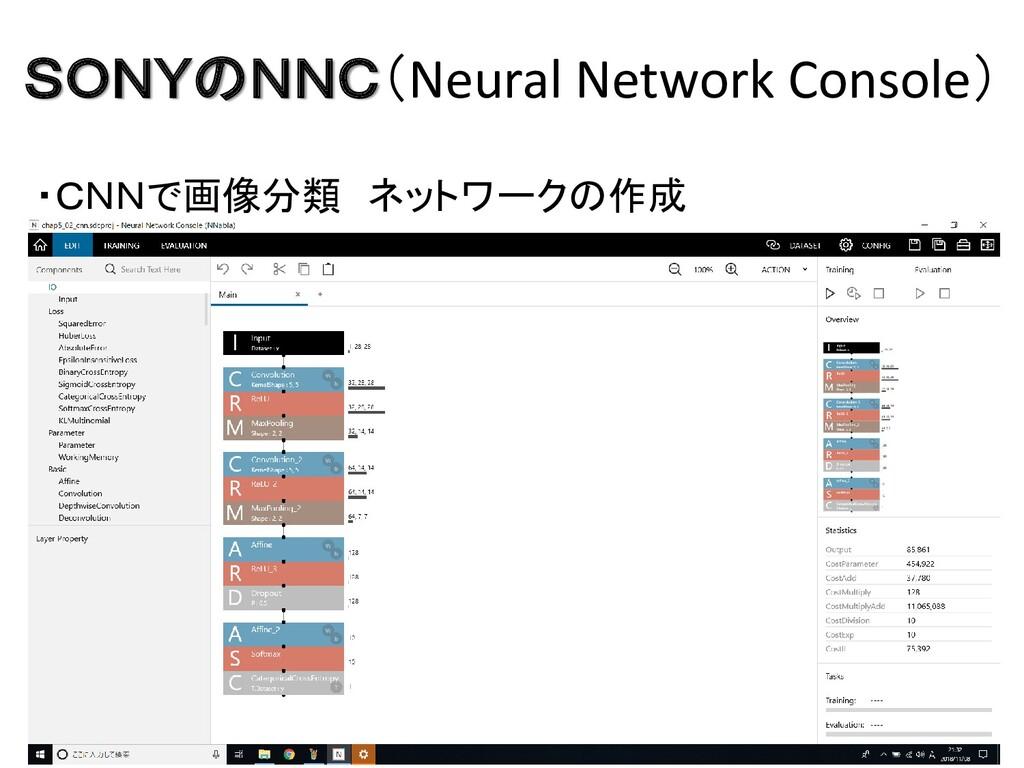 SONYのNNC(Neural Network Console) ・CNNで画像分類 ネットワ...