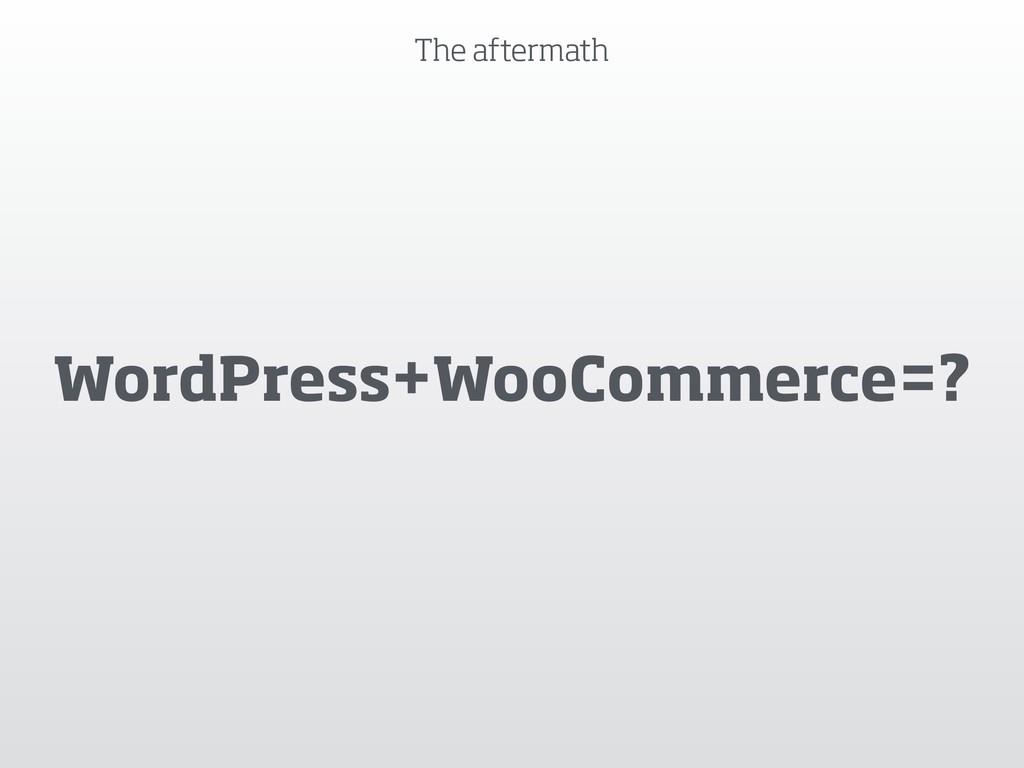 The aftermath WordPress+WooCommerce=?