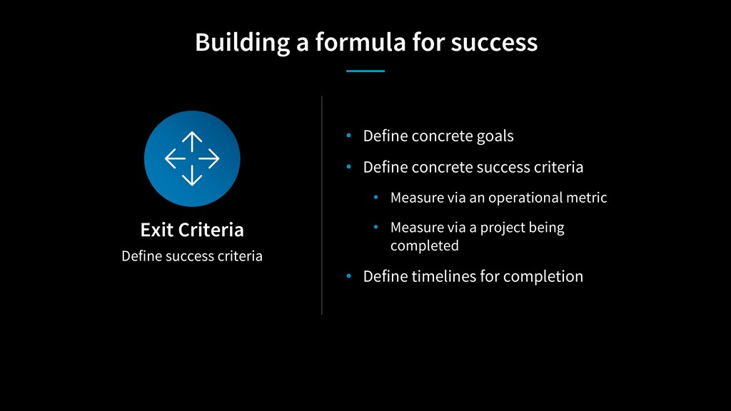 Define success criteria Exit Criteria • Define ...