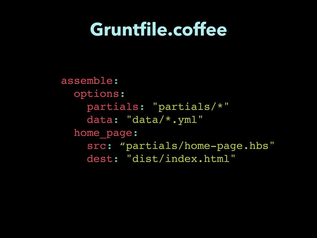 """assemble:! options:! partials: """"partials/*""""! da..."""