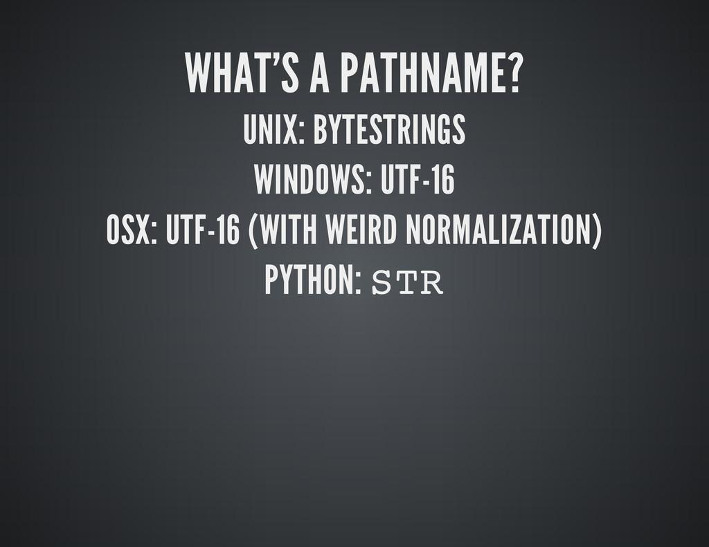 WHAT'S A PATHNAME? UNIX: BYTESTRINGS WINDOWS: U...