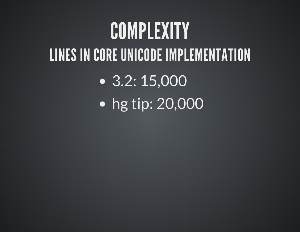COMPLEXITY LINES IN CORE UNICODE IMPLEMENTATION...