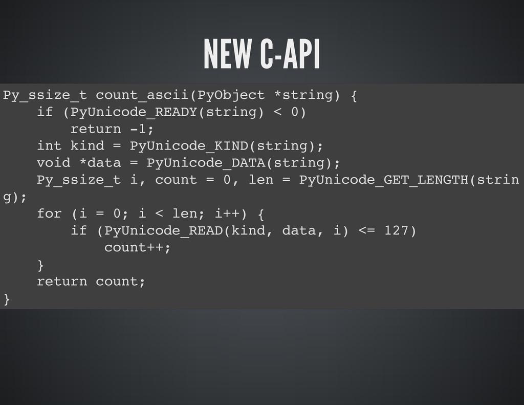 NEW C-API P y _ s s i z e _ t c o u n t _ a s c...