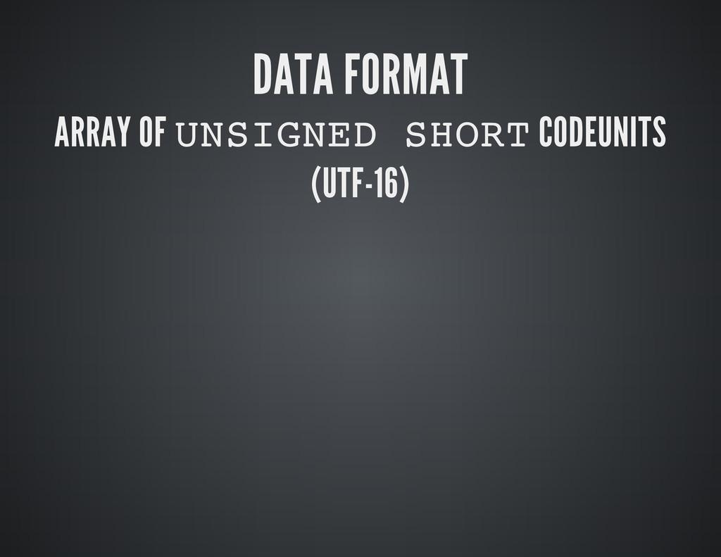 DATA FORMAT ARRAY OF U N S I G N E D S H O R T ...