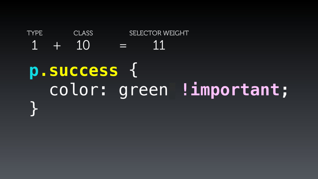 p.success { color: green; } !important; TYPE 1 ...