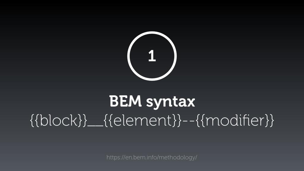 BEM syntax {{block}}__{{element}}--{{modifier}} ...