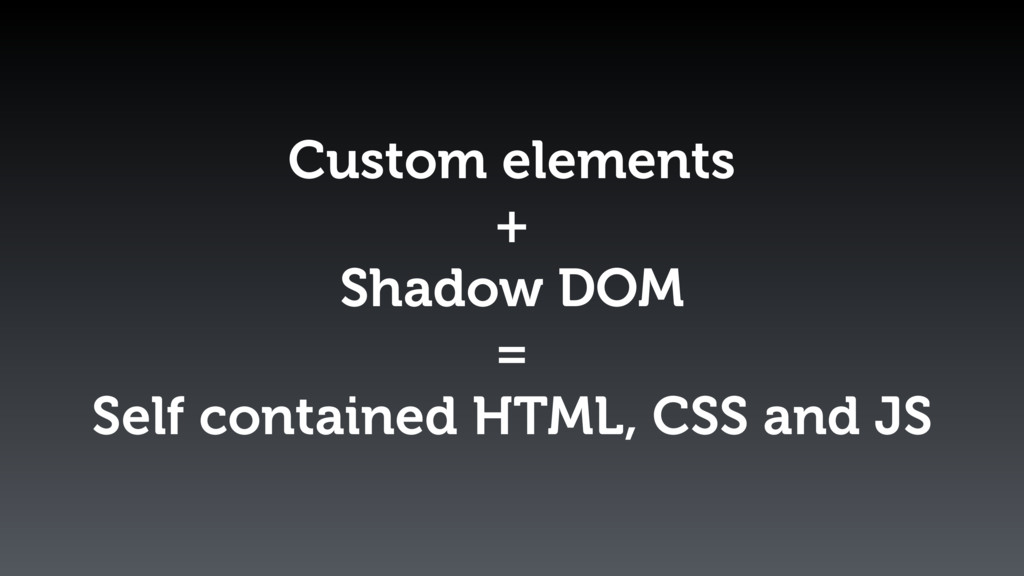 Custom elements + Shadow DOM = Self contained H...