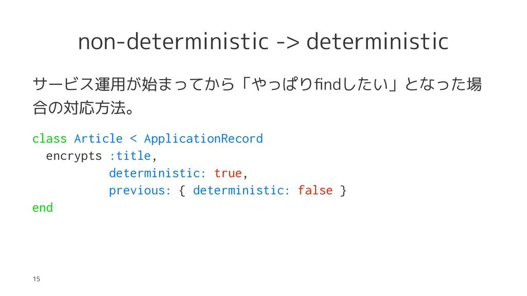 non-deterministic -> deterministic サービス運用が始まってか...