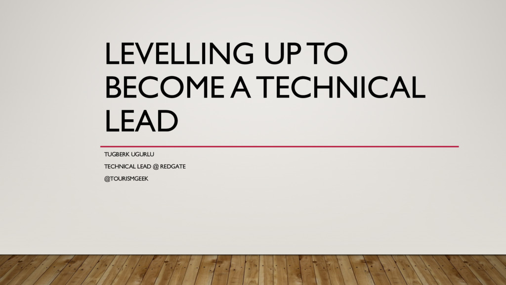 LEVELLING UP TO BECOME A TECHNICAL LEAD TUGBERK...