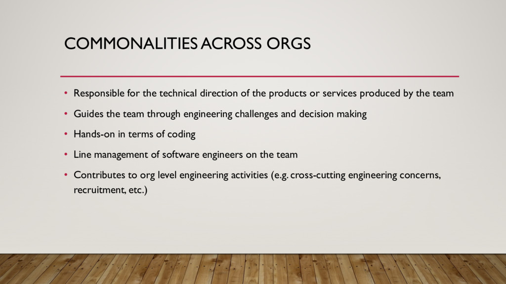 COMMONALITIES ACROSS ORGS • Responsible for the...