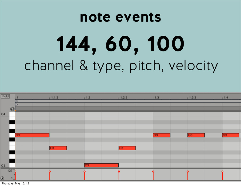 note events 144, 60, 100 channel & type, pitch,...