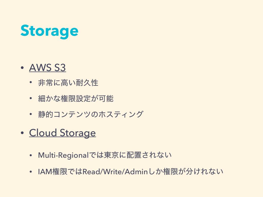 Storage • AWS S3 • ඇৗʹߴ͍ٱੑ • ࡉ͔ͳݖݶઃఆ͕Մ • ੩తίϯ...