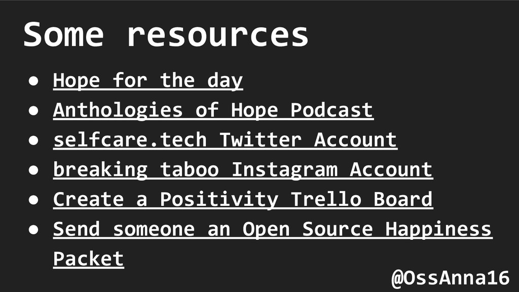 Some resources ● Hope for the day ● Anthologies...